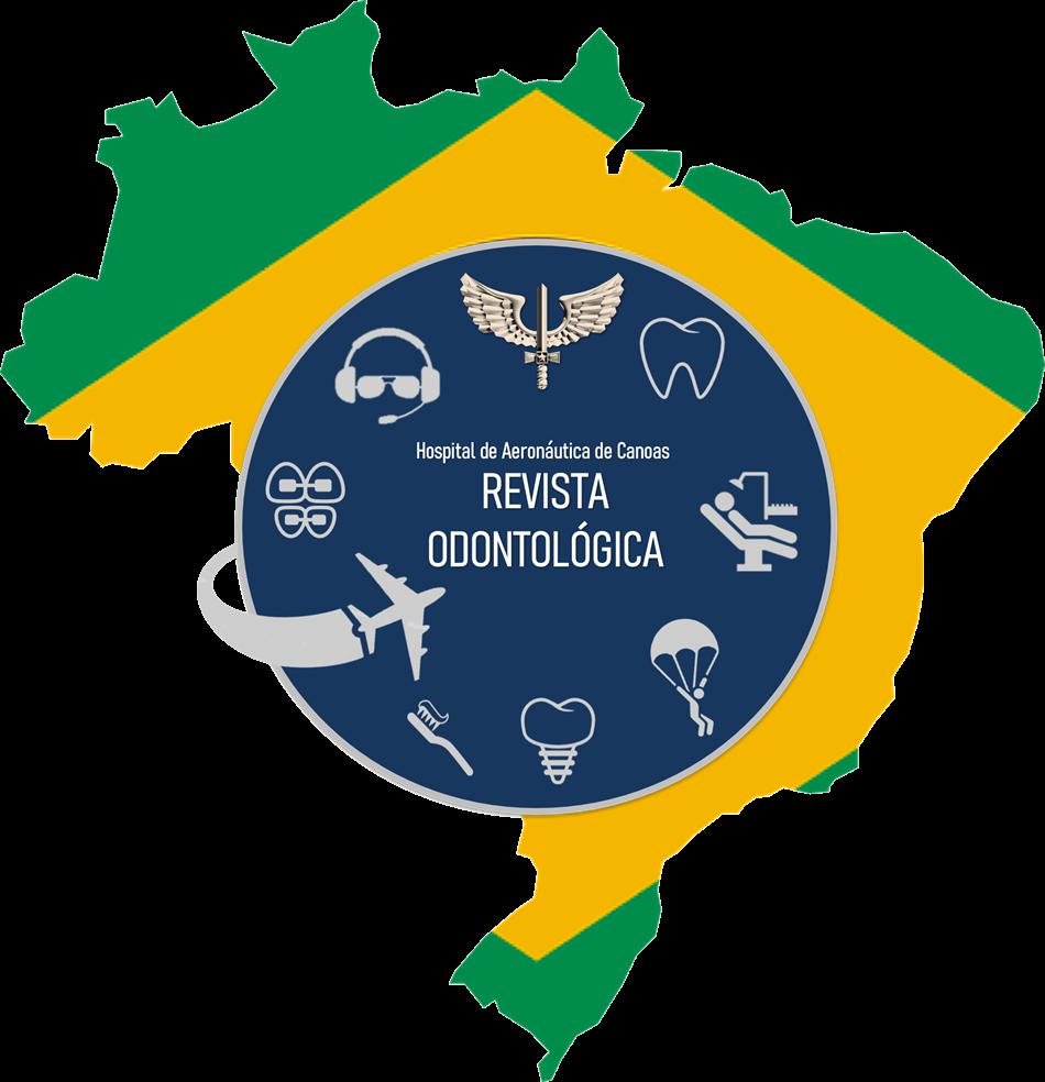Logo composta pela imagem da Bandeira do Brasil recortada no formato do mapa do Brasil, a parte azul e branco da Bandeira do Brasil substituída por um circulo azul com imagens que remetem à Força Aérea Brasileira e a saúde bucal.